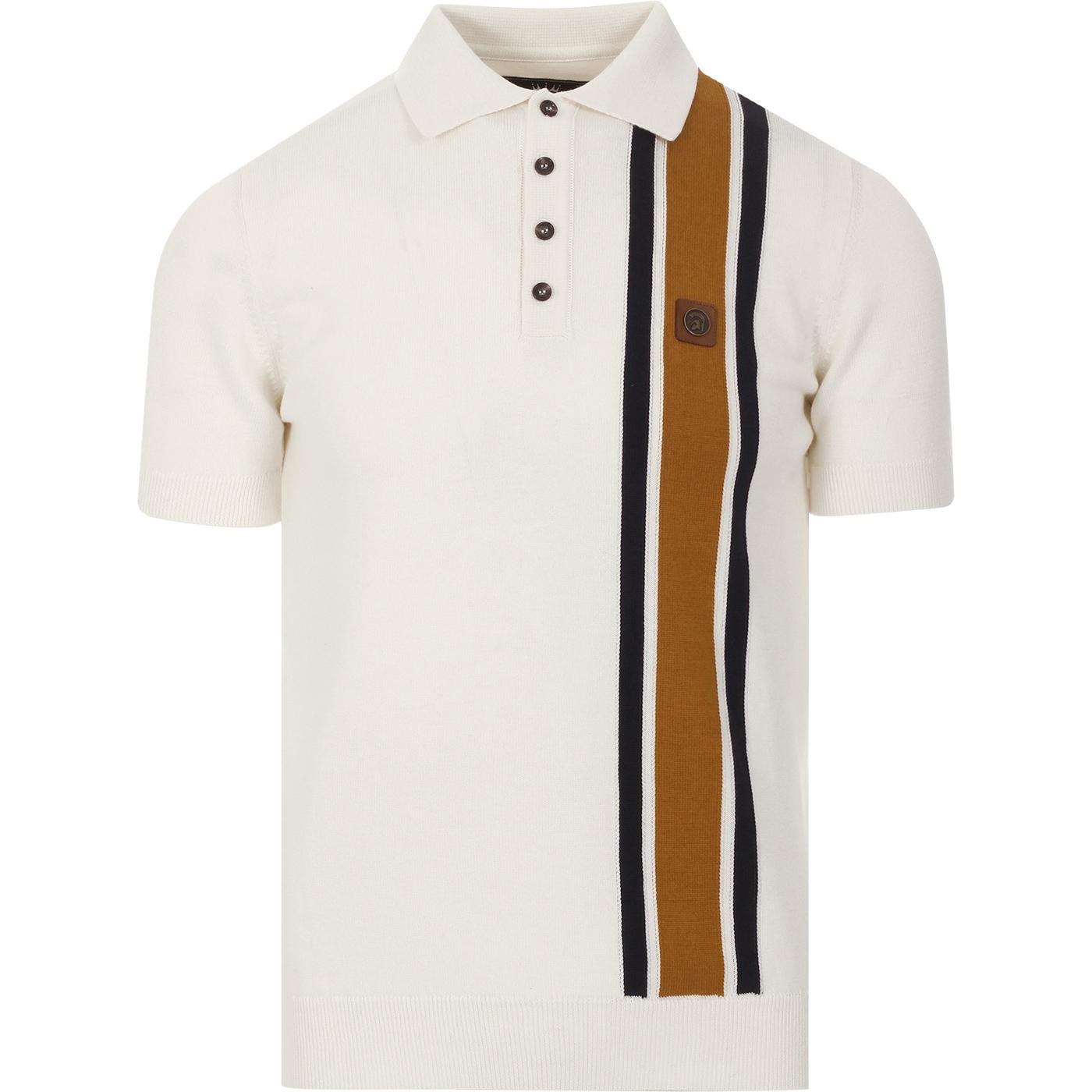 TROJAN RECORDS Mod Racing Stripe Panel Knit Polo E