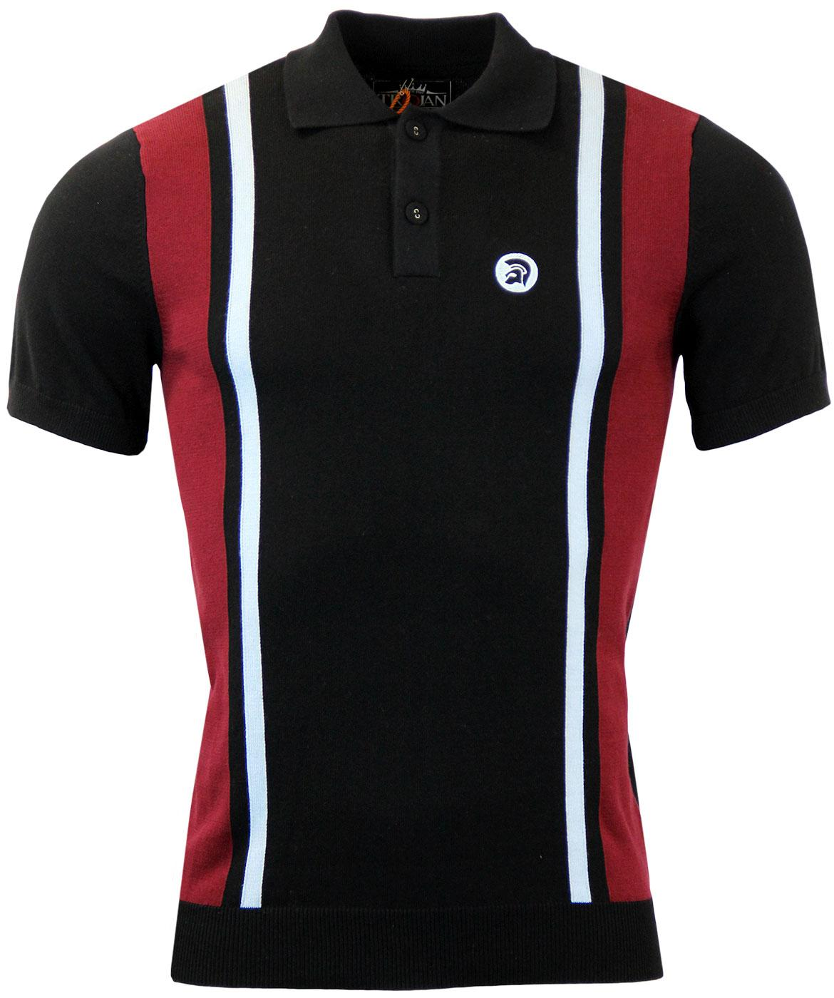 TROJAN RECORDS Retro Mod Block Knitted Polo B