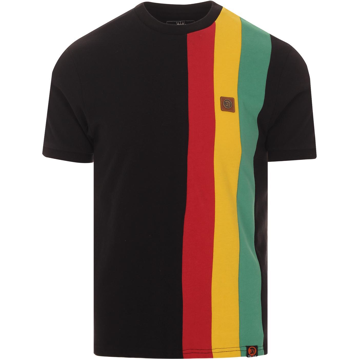 TROJAN RECORDS Cut & Sew Rasta Racing Stripe Tee