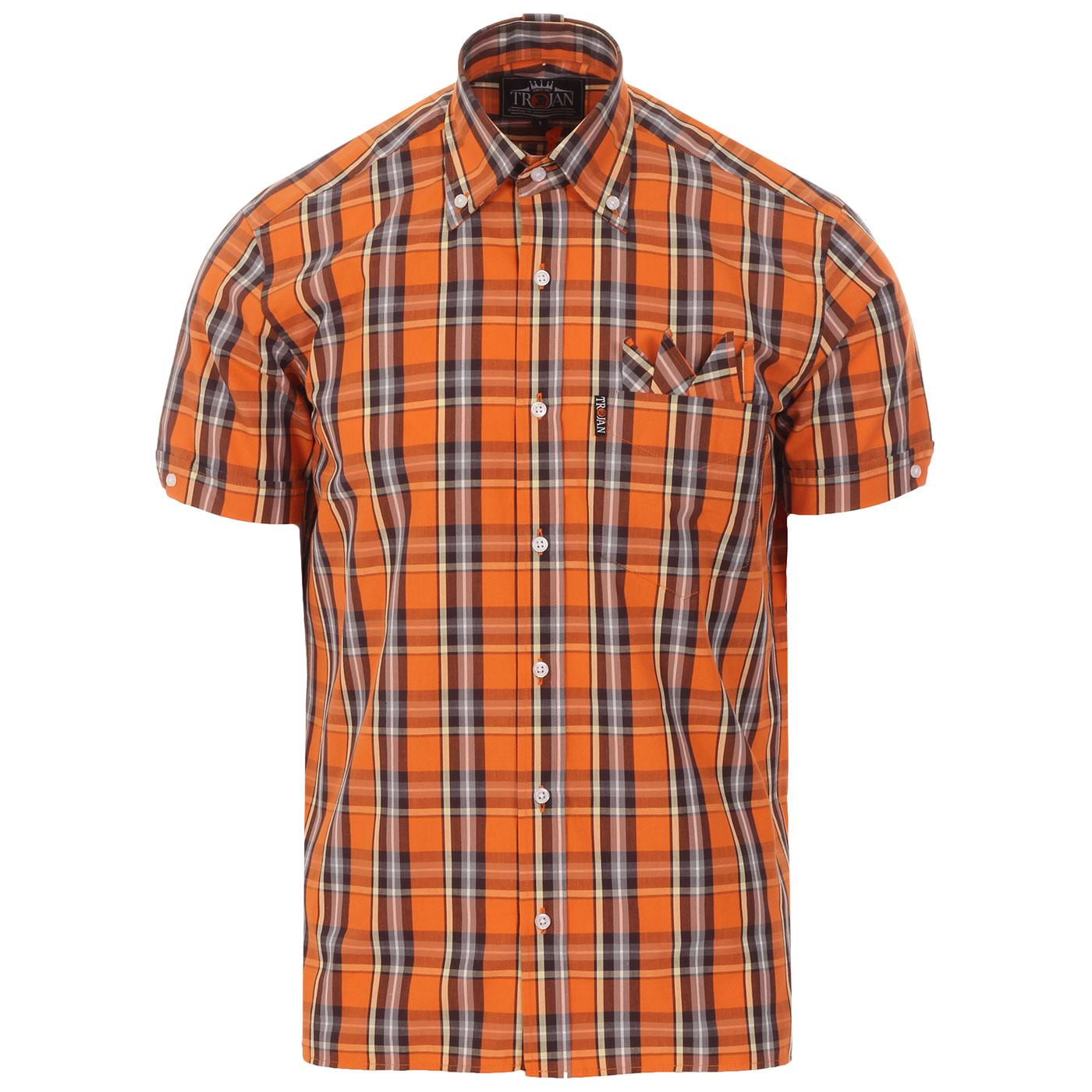 TROJAN RECORDS Mod Ska Plaid Check Shirt (Orange)