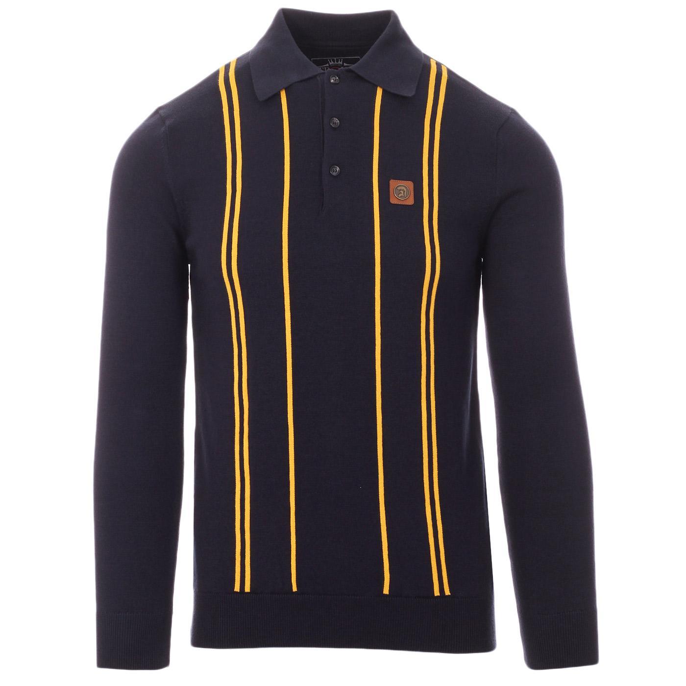 TROJAN RECORDS 60s Mod Fine Stripe LS Knit Polo N