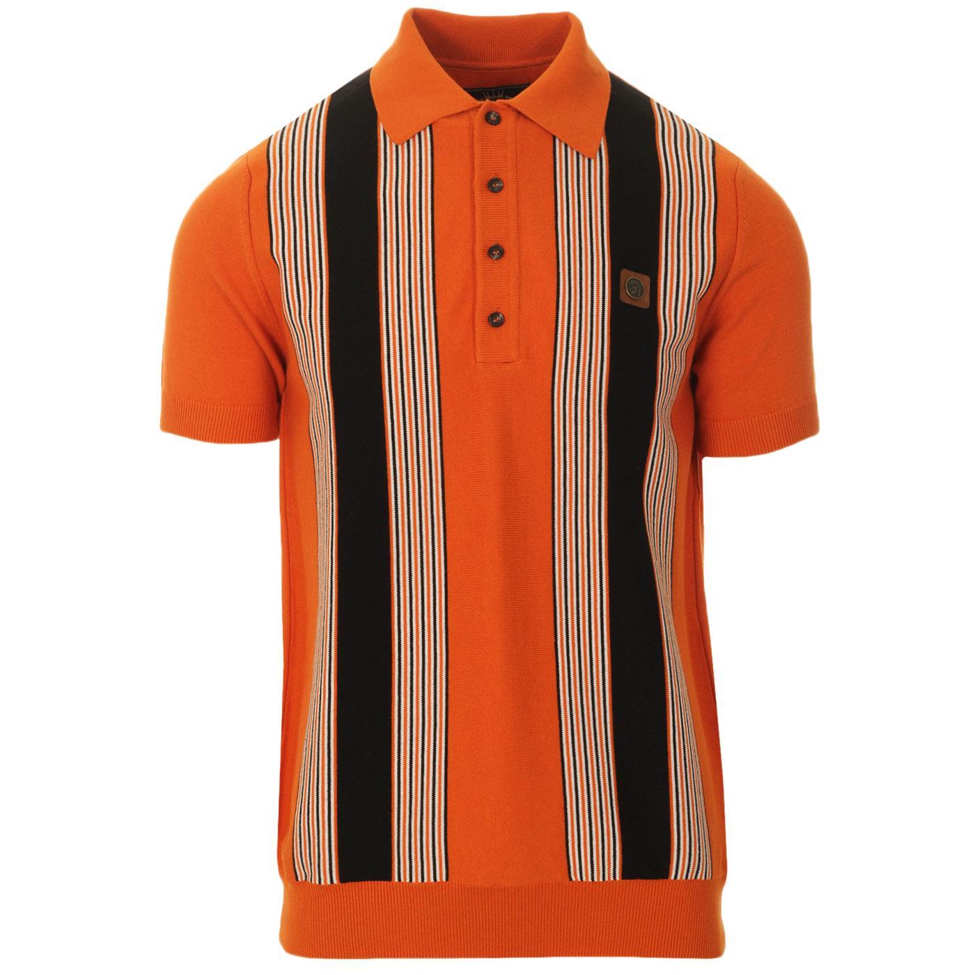 TROJAN RECORDS Ska Mod Stripe Knit Polo (Orange)