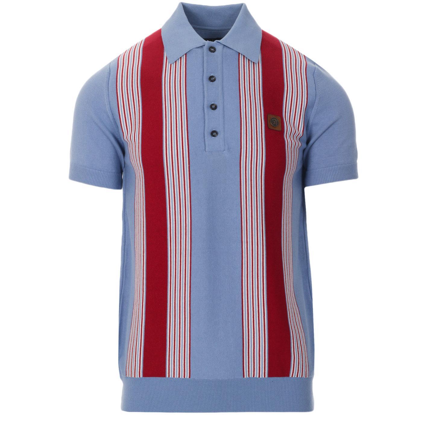 TROJAN RECORDS Ska Mod Stripe Knit Polo Top (Sky)