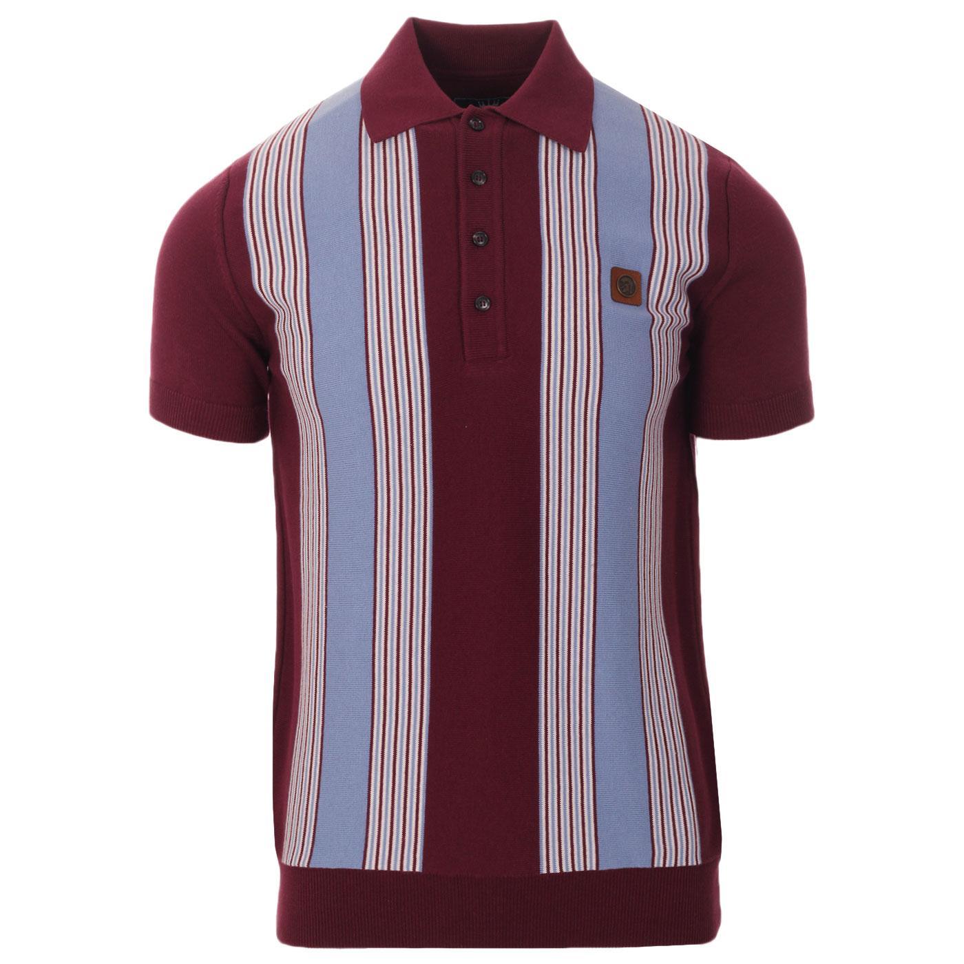 TROJAN RECORDS Ska Mod Stripe Knit Polo Top (Port)