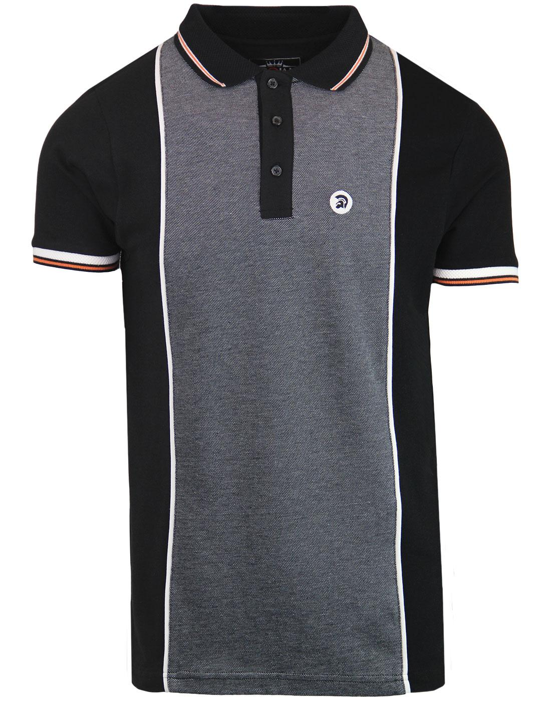 TROJAN RECORDS Mod Oxford Marl Panel Polo Top (B)