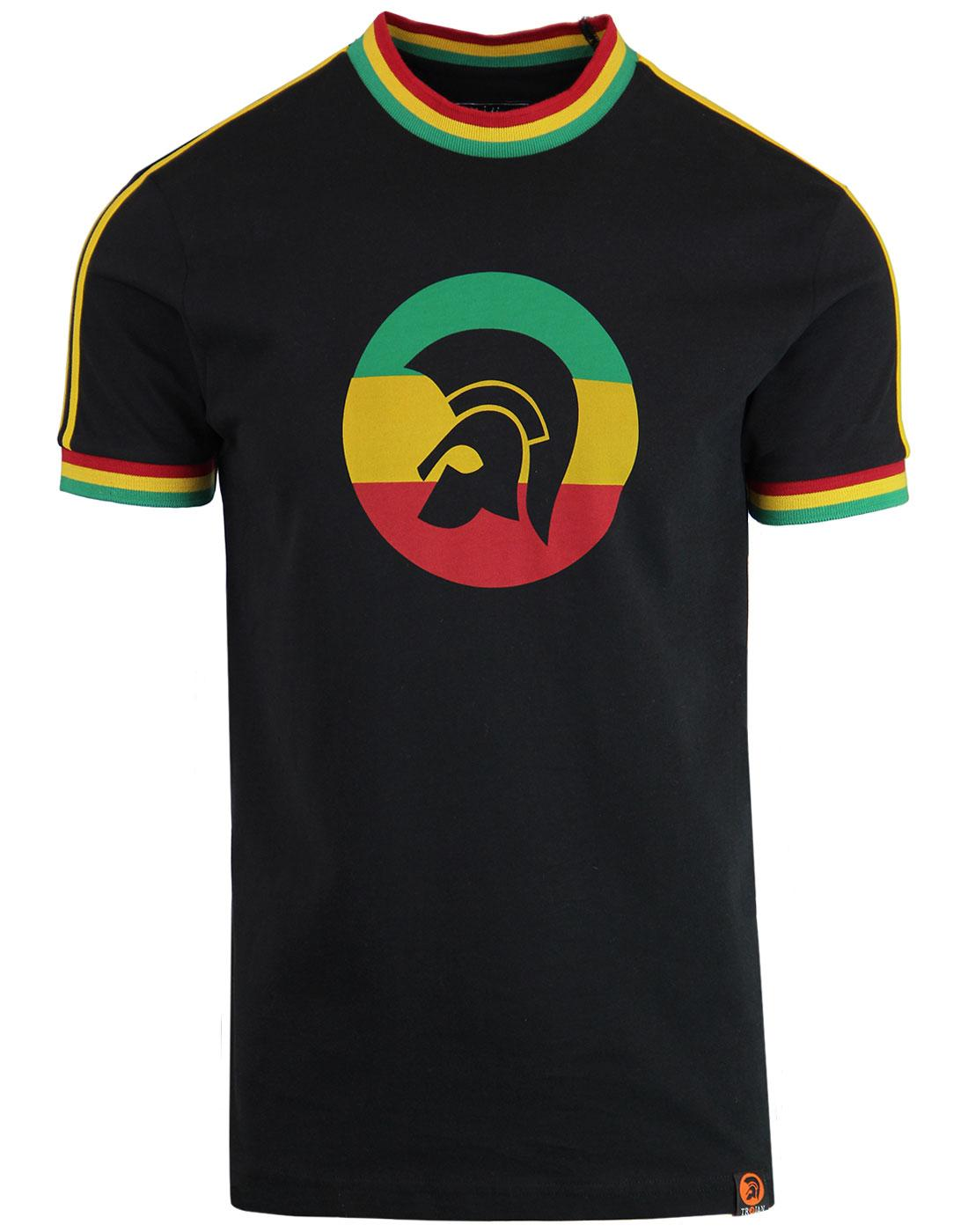 TROJAN RECORDS Retro Mod Rasta Flag Stripe T-Shirt
