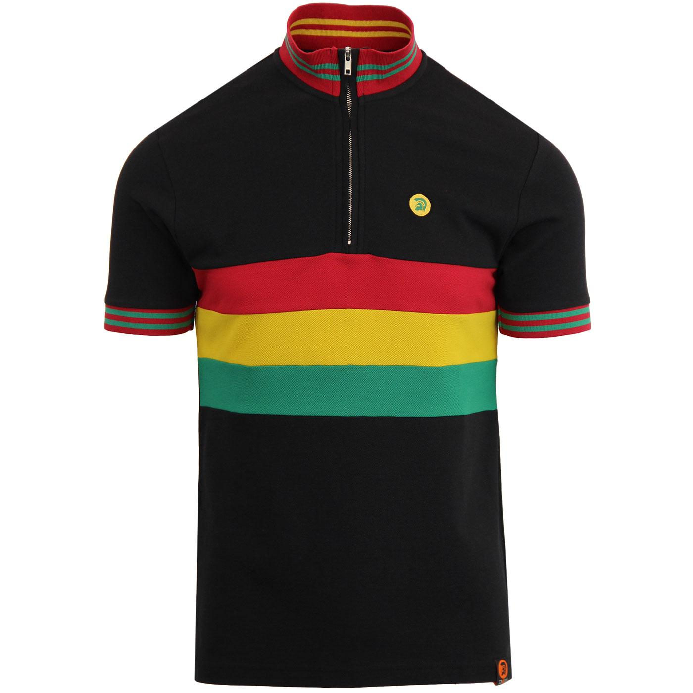 TROJAN RECORDS Retro Ska Rasta Stripe Cycling Top