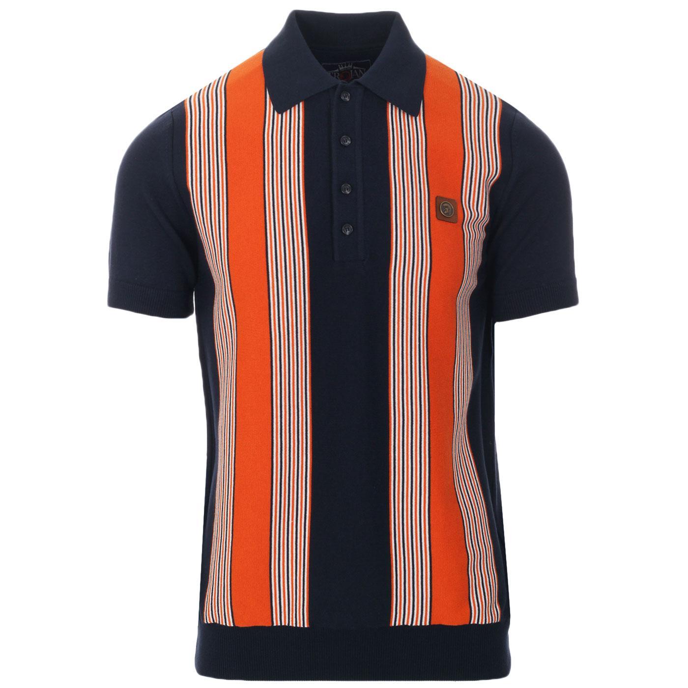 TROJAN RECORDS Ska Mod Stripe Knit Polo Top (Navy)