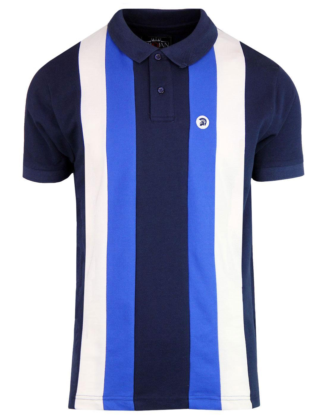 TROJAN RECORDS Retro Mod Stripe Panel Pique Polo