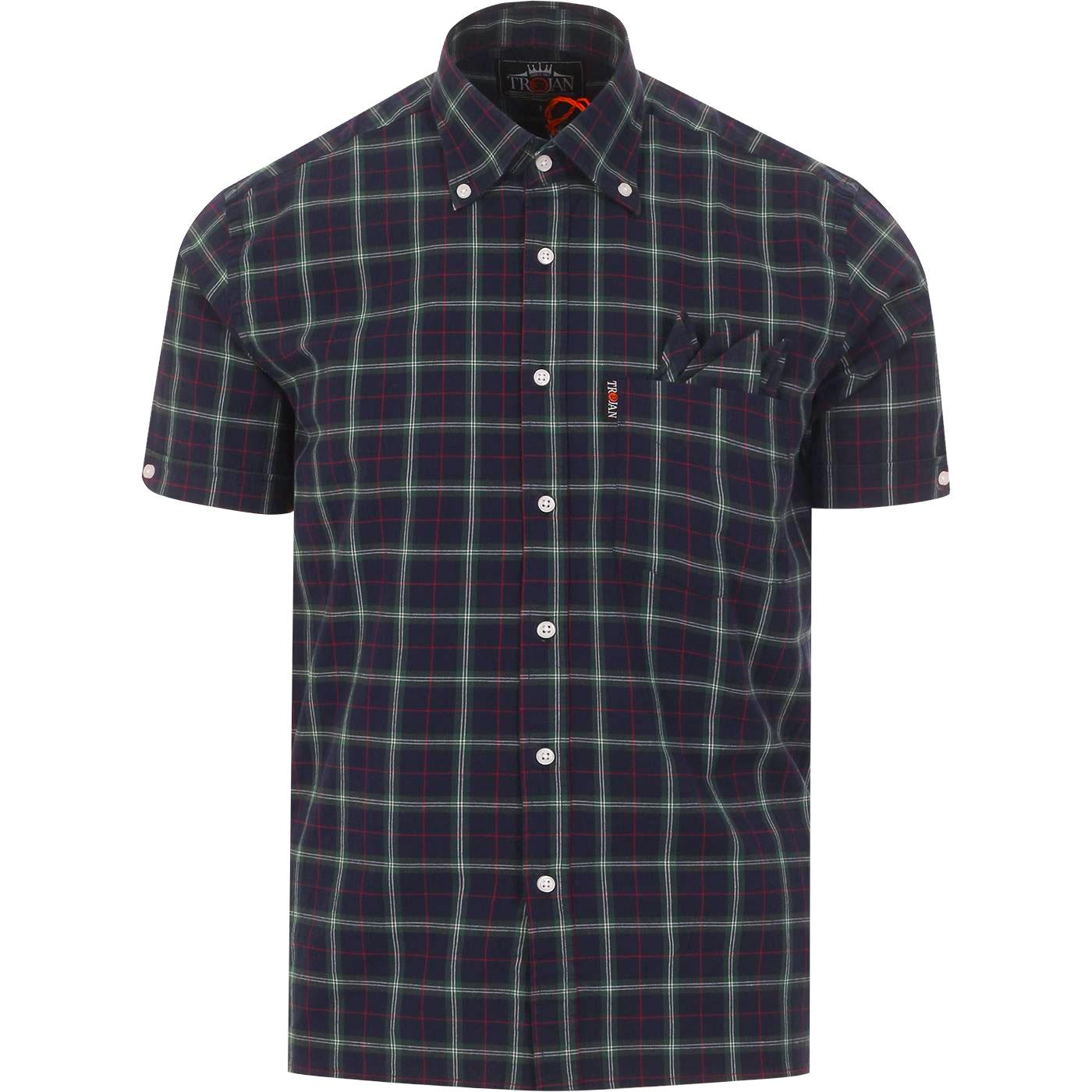 TROJAN RECORDS Retro Mod Tartan Check Shirt (Navy)