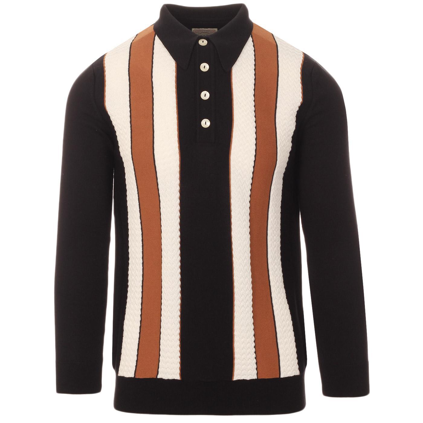 SKA & SOUL 60s Mod Texture Stripe LS Knit Polo (B)
