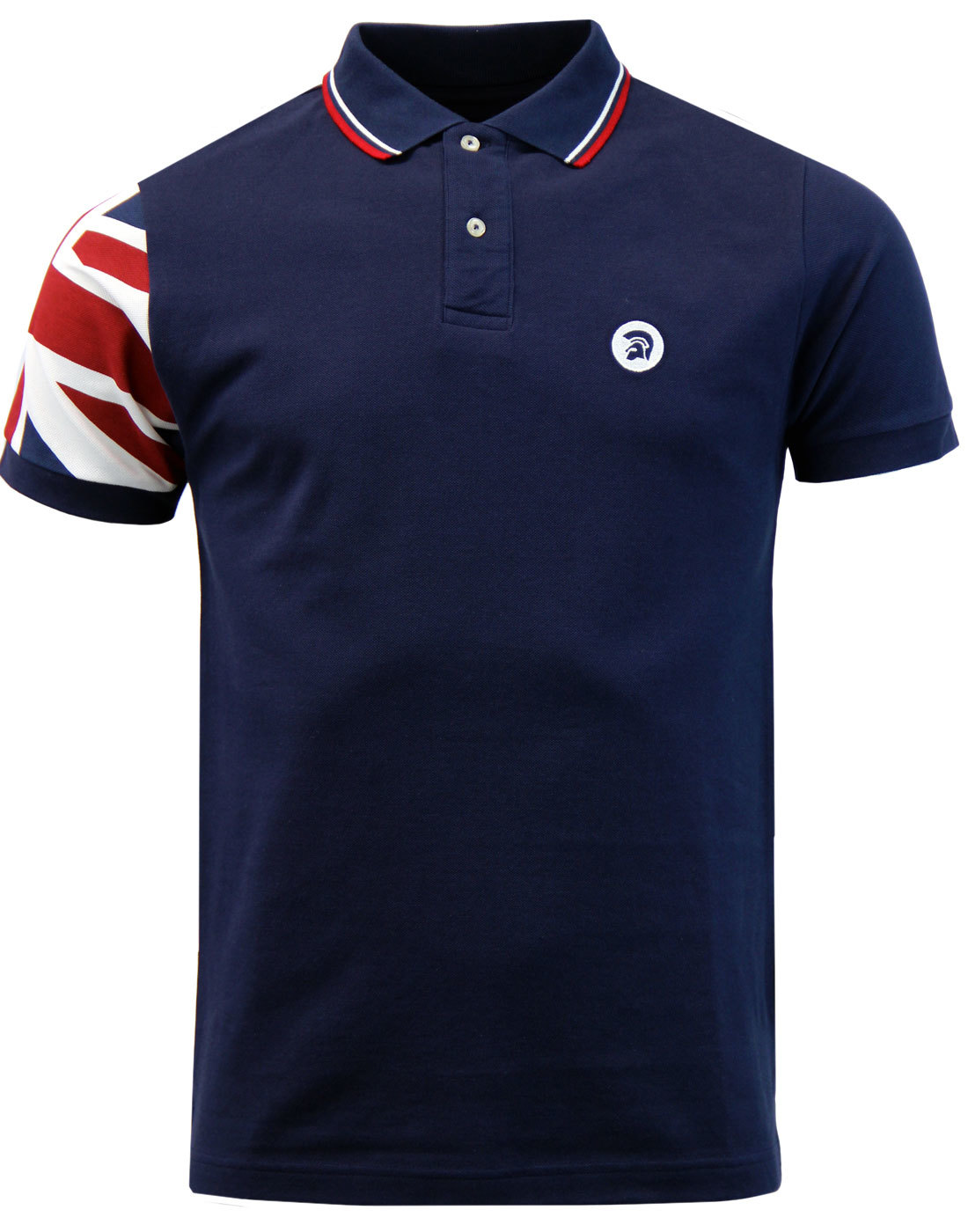 TROJAN RECORDS Retro Mod Union Jack Sleeve Polo
