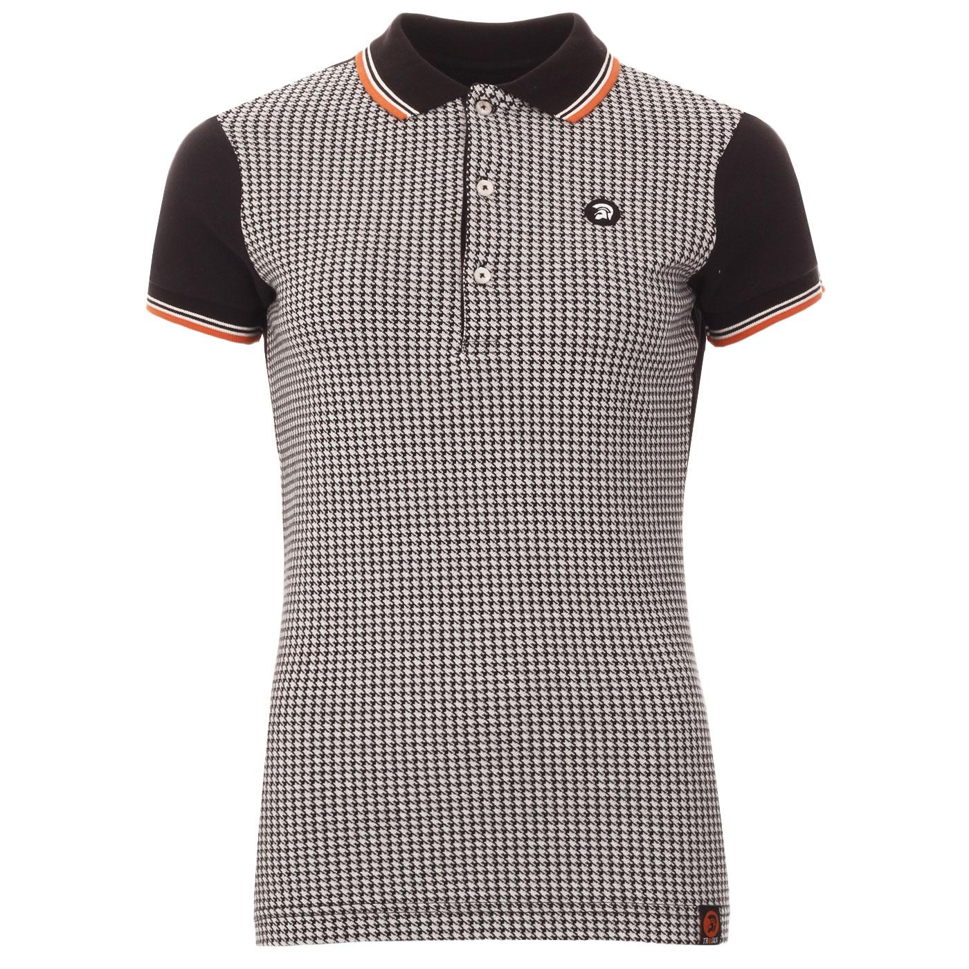 TROJAN RECORDS Women's Mod Houndstooth Polo Top