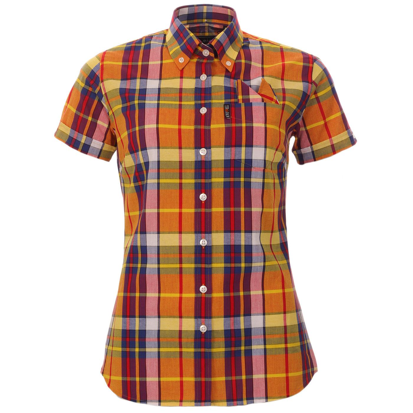 TROJAN RECORDS Women's Mod Plaid Check Shirt GOLD