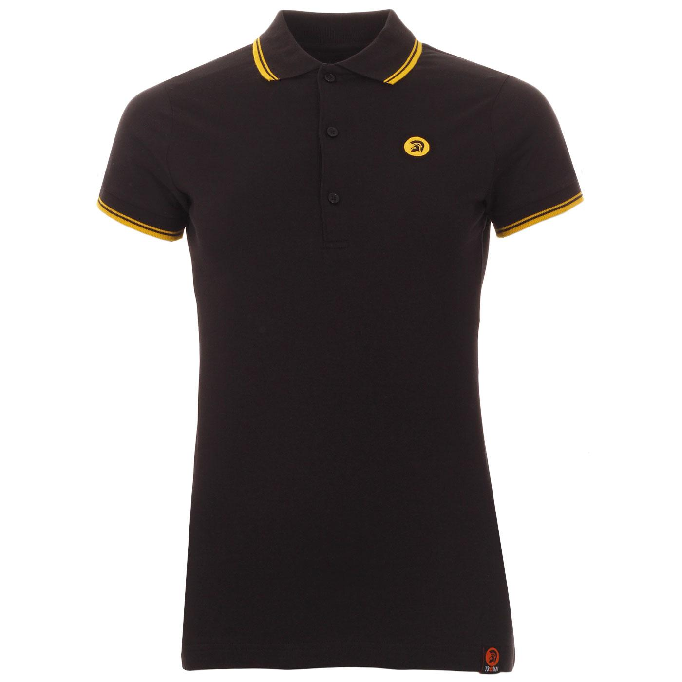 TROJAN RECORDS Women's Mod Ska Tipped Polo Top B/Y