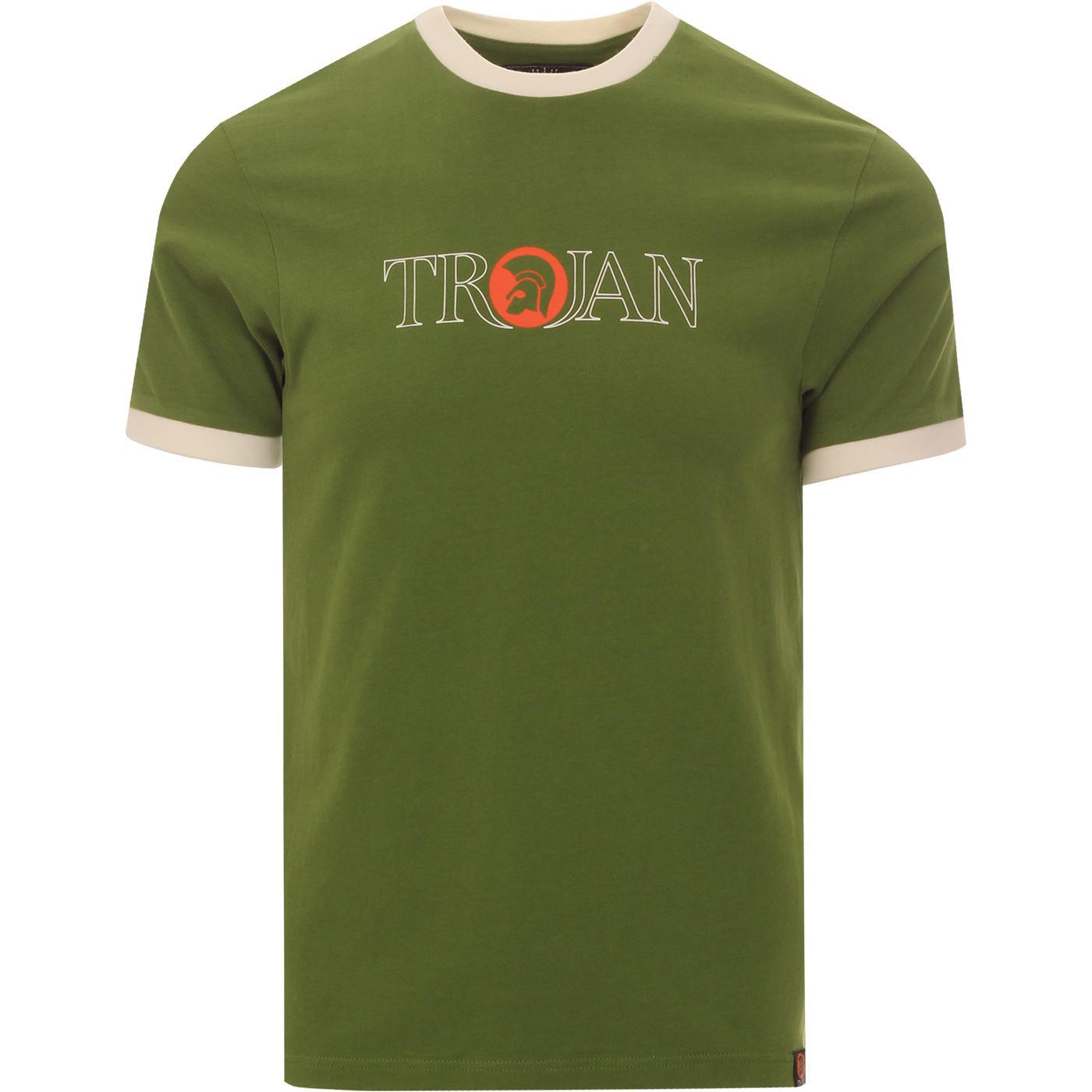 TROJAN RECORDS Outline Logo Ringer Tee (Green)