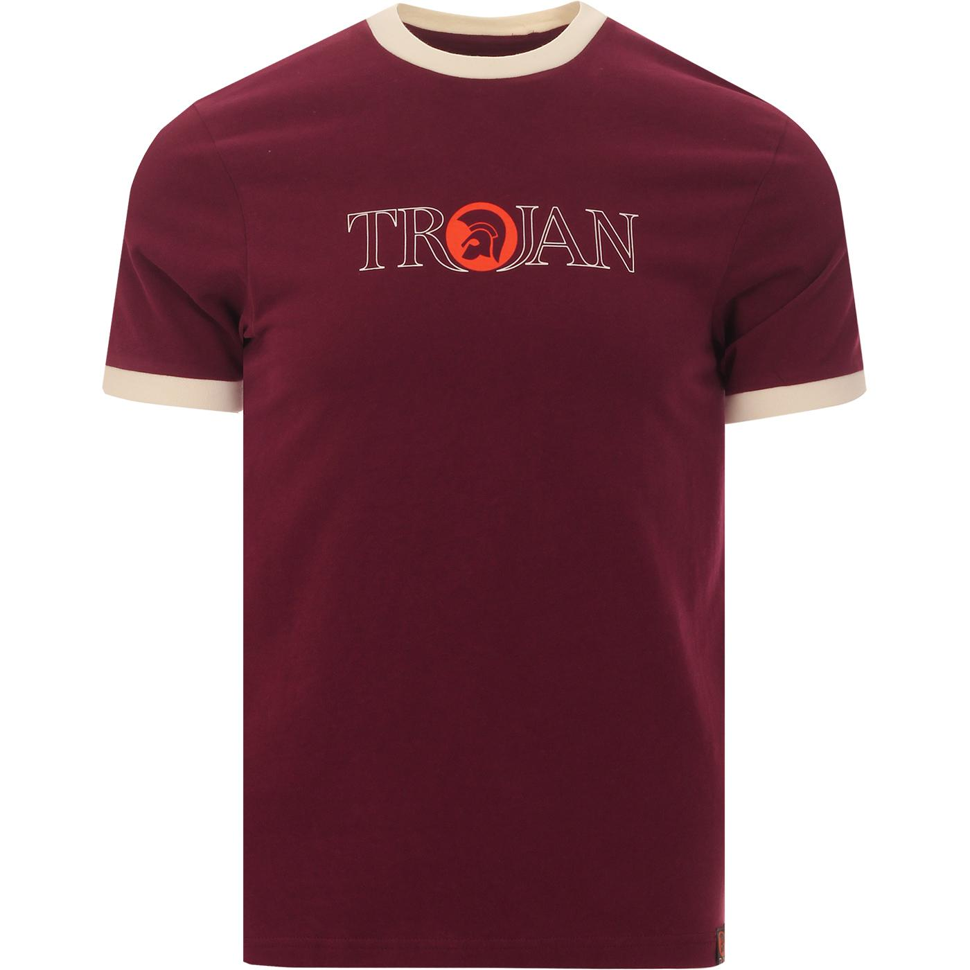 TROJAN RECORDS Outline Logo Ringer Tee (Port)