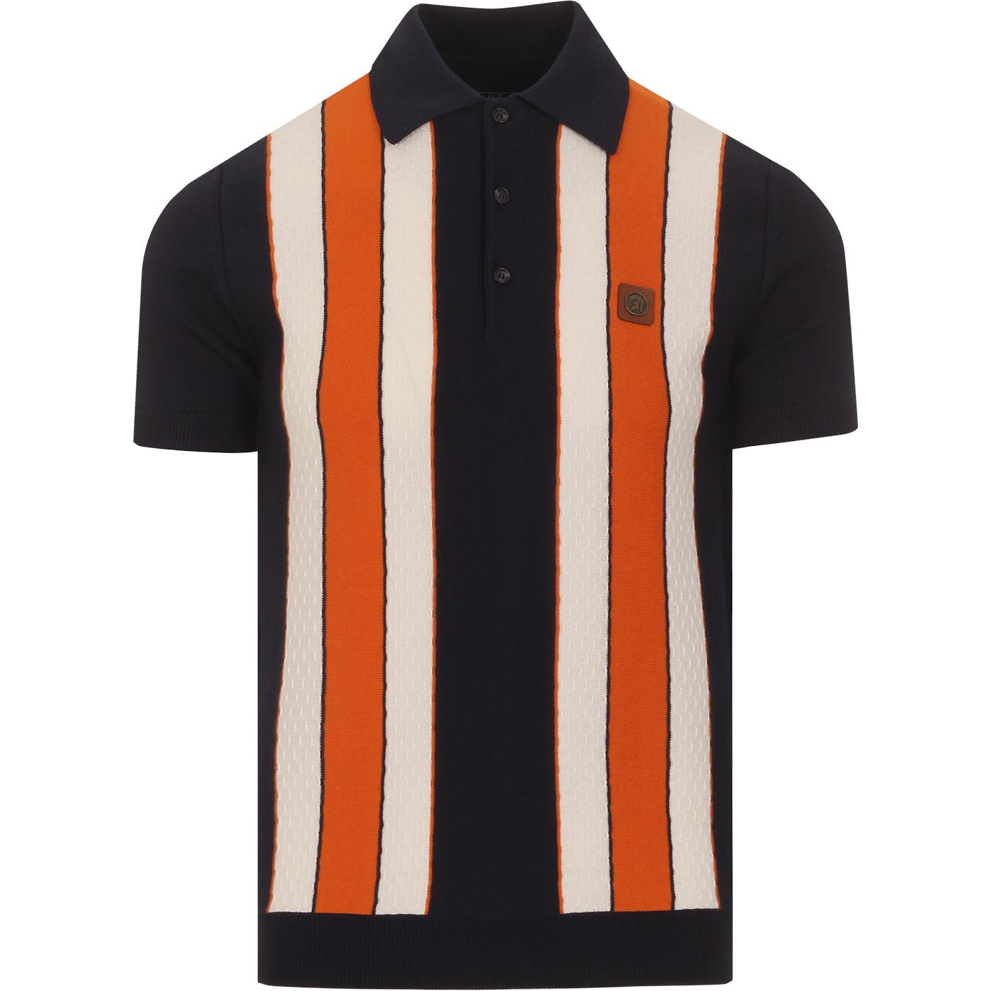 TROJAN RECORDS 60s Mod Dobby Stripe Knit Polo (N)