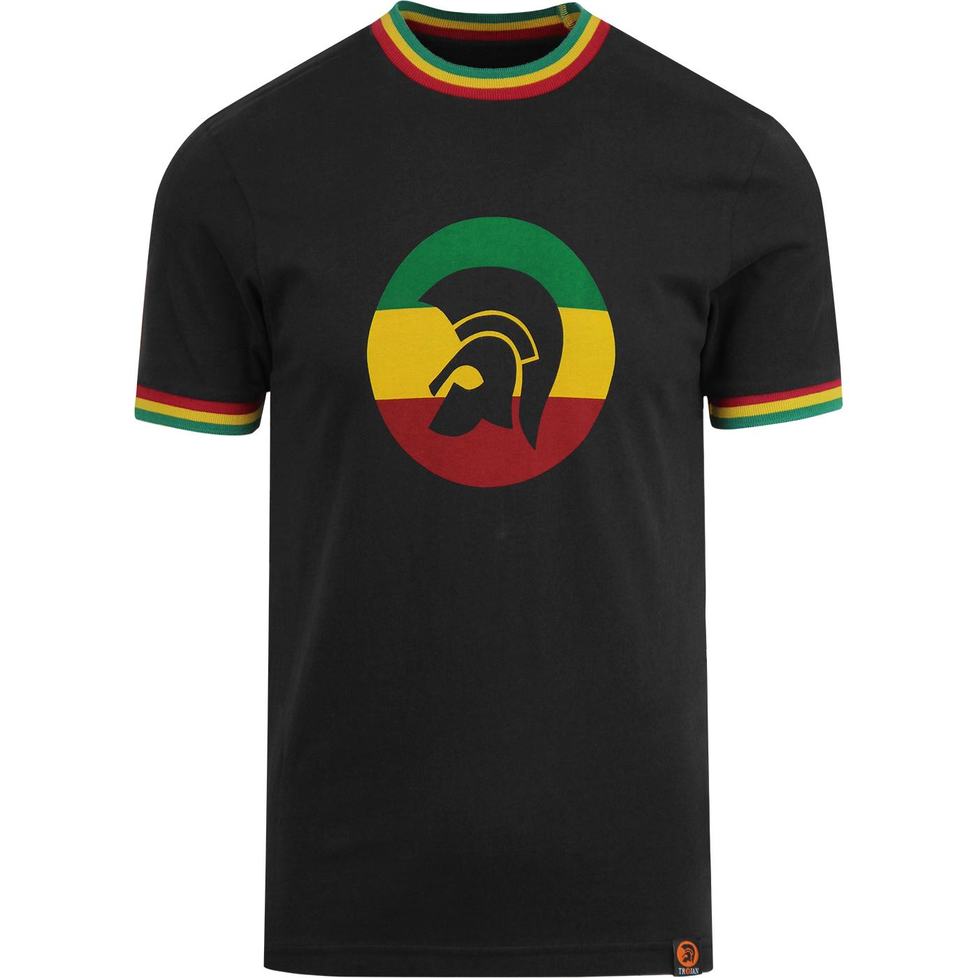 TROJAN RECORDS Retro Rasta Flag Stripe Ringer Tee