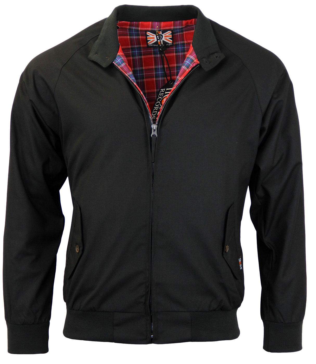 TROJAN Retro Mod Tartan Lined Harrington Jacket