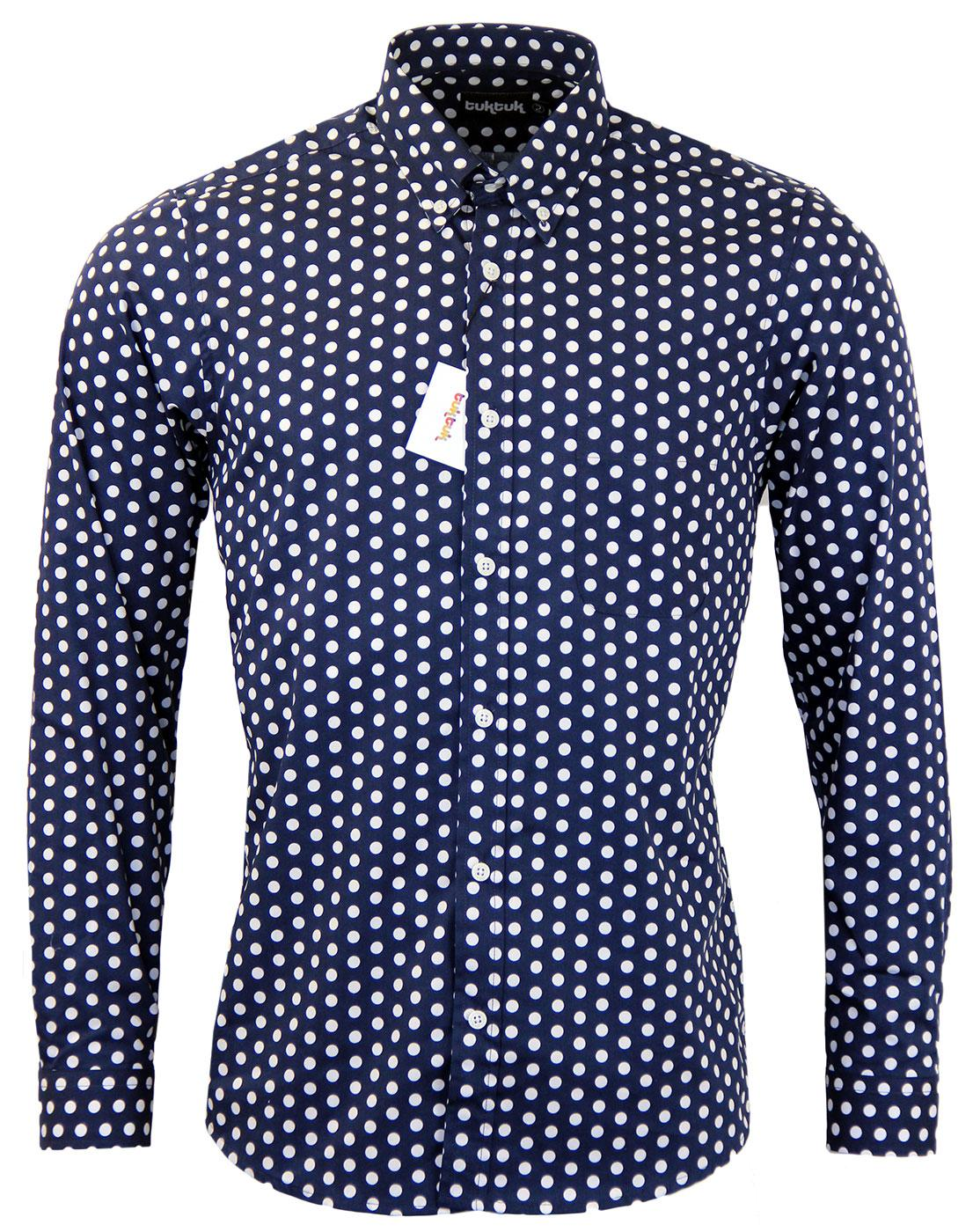 Tuktuk retro 60s mod button down collar polka dot shirt in for Button down polka dot shirt
