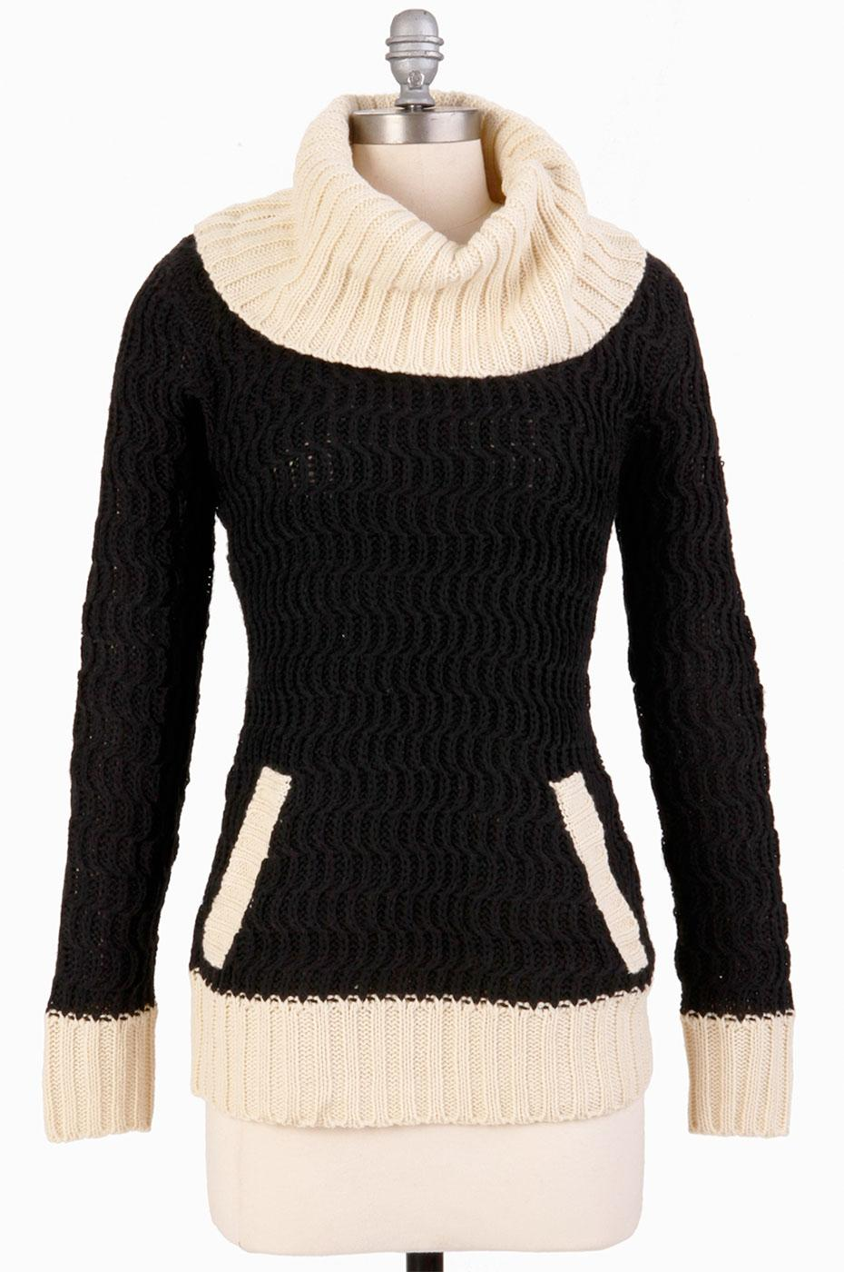 TULLE Retro 60s Mod Cowl Neck Elbow Patch Jumper