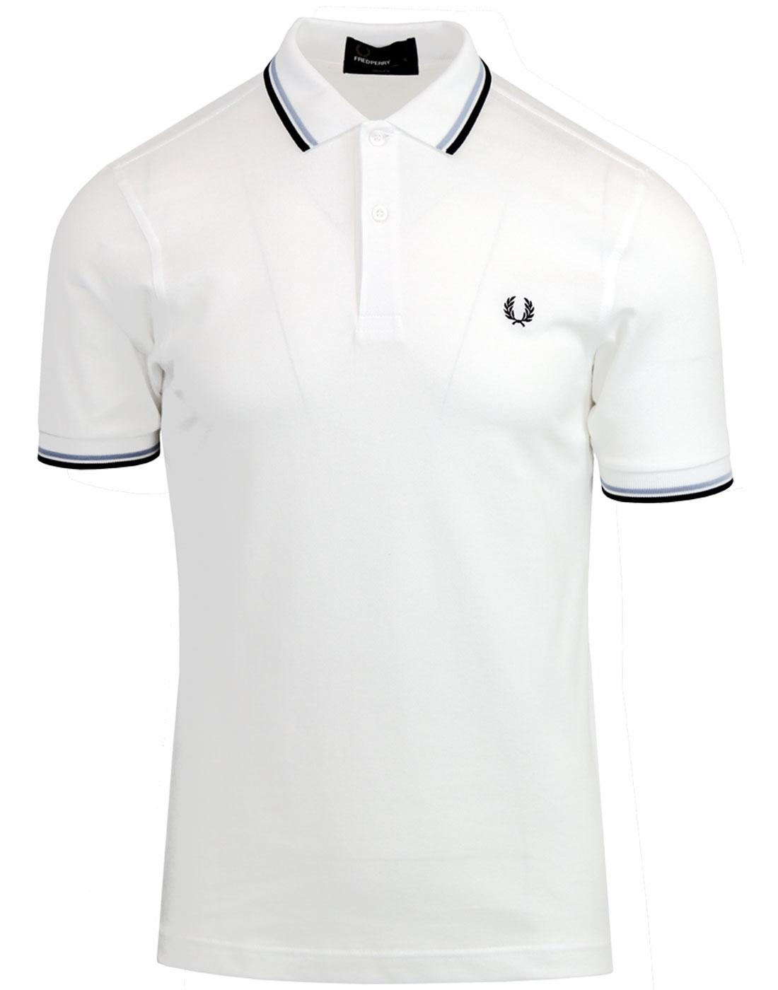 FRED PERRY M3600 Mod Twin Tipped Polo Shirt White