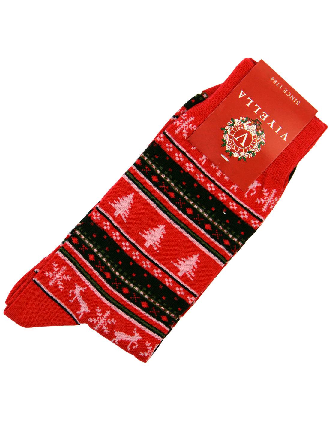+ Christmas Fairisle VIYELLA Retro Christmas Socks