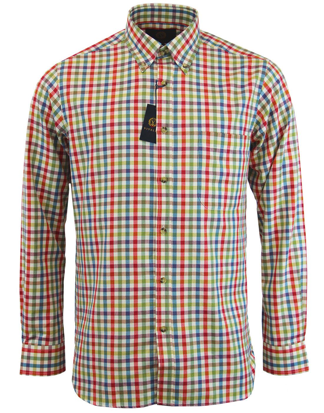 VIYELLA Retro Herringbone Check Button Down Shirt