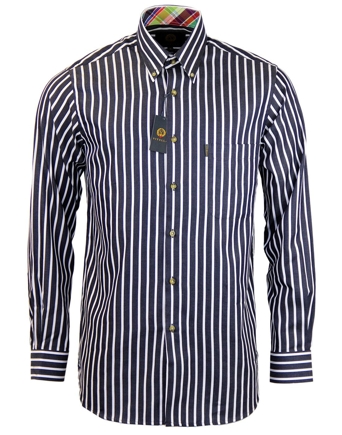 VIYELLA Retro Mod Breton Stripe Button Down Shirt