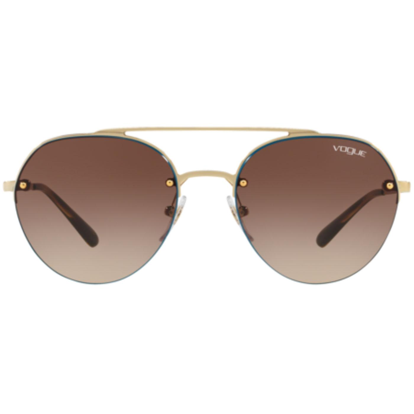 VOGUE Retro 70s Aviator Round Sunglasses Gold/Blue