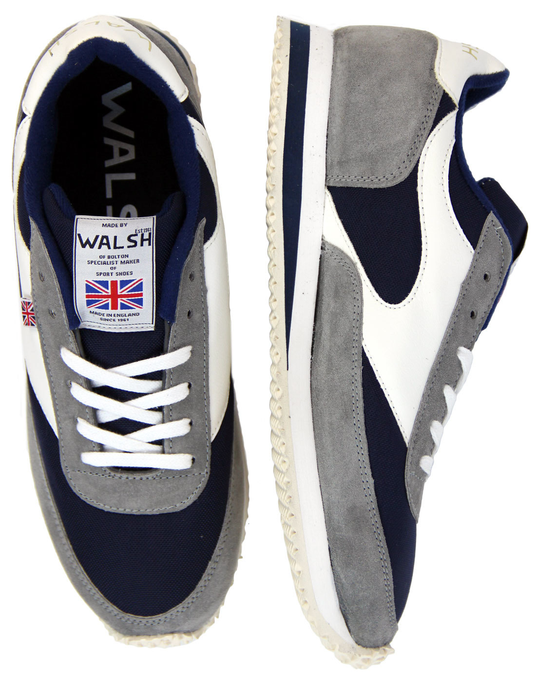 LA 84 WALSH Made In England Retro Trainers (N/G/W)