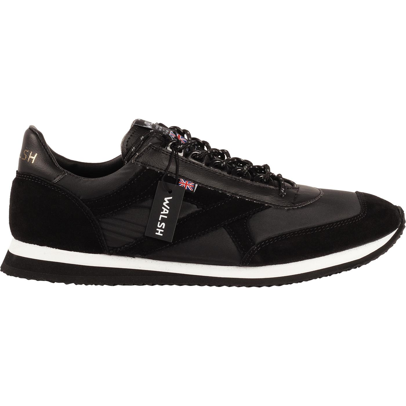 Voyager WALSH Made in England Retro Trainers BLACK