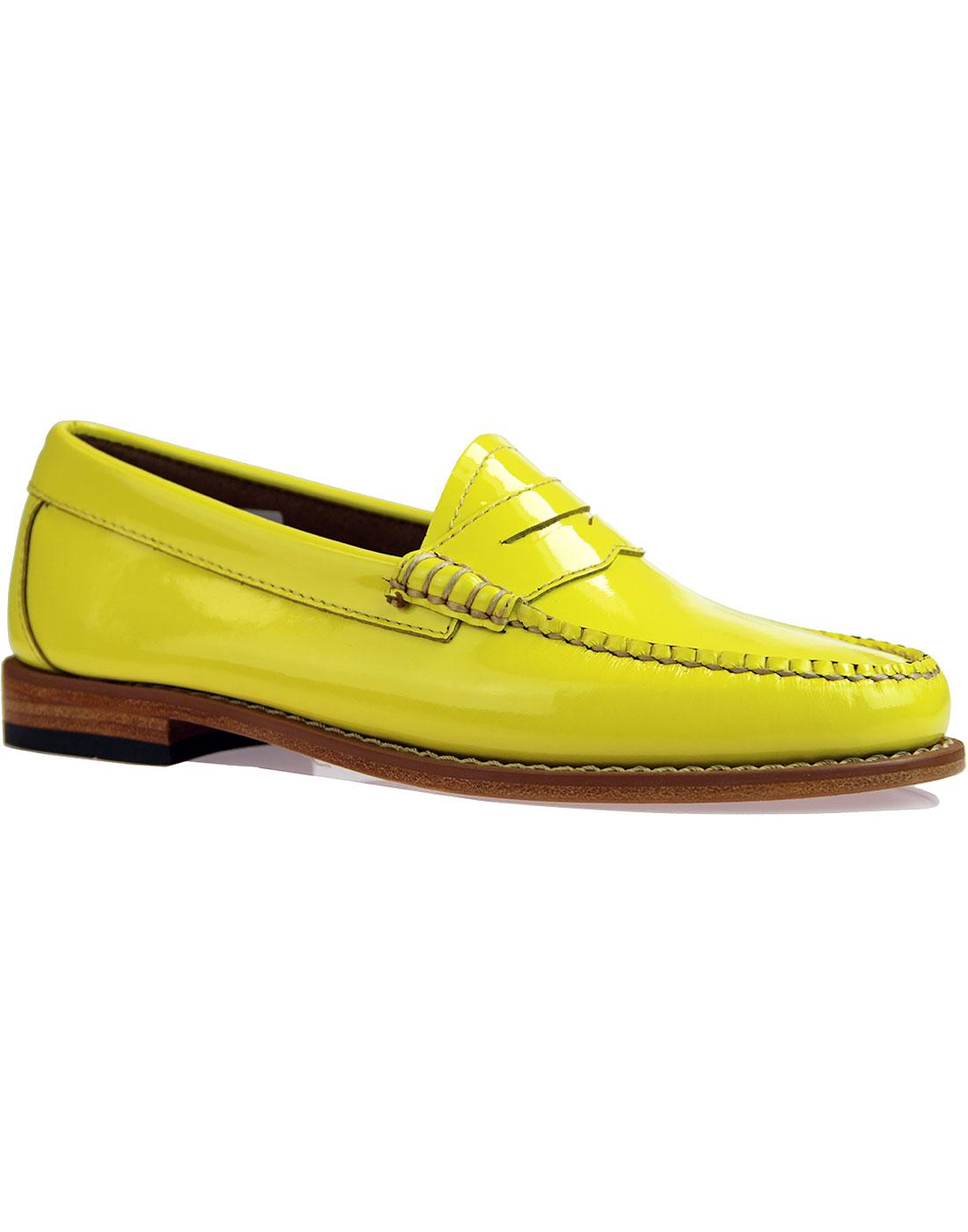 Penny Wheel BASS WEEJUN Retro Patent Loafers LEMON