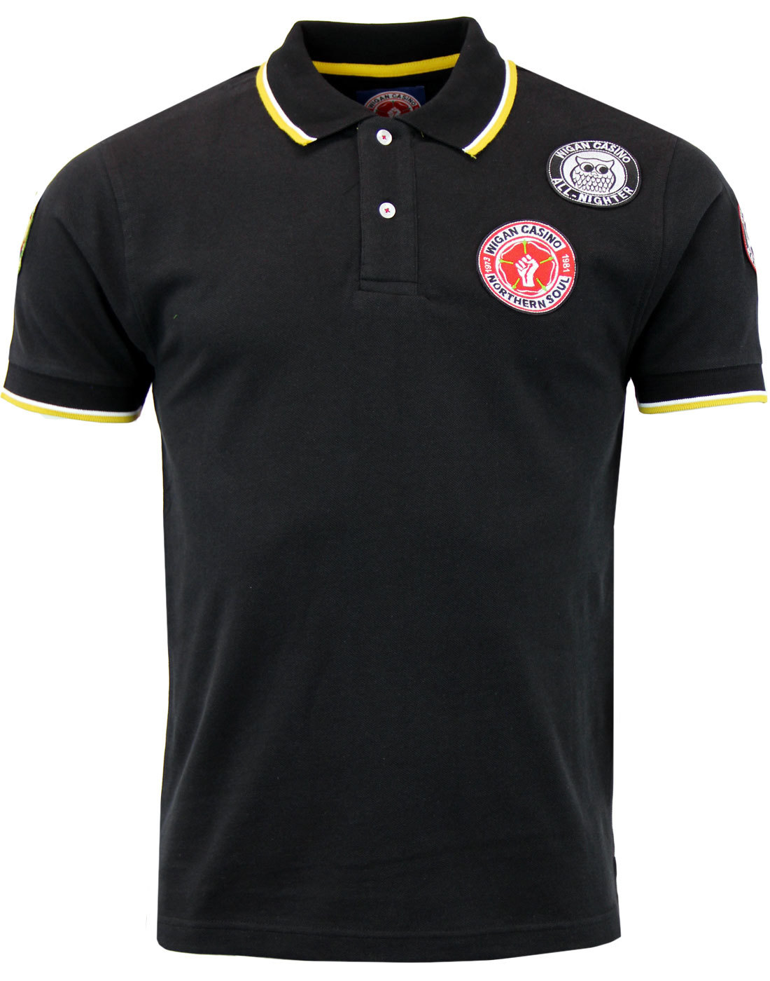 WIGAN CASINO Northern Soul Mod Multi Badged Polo B