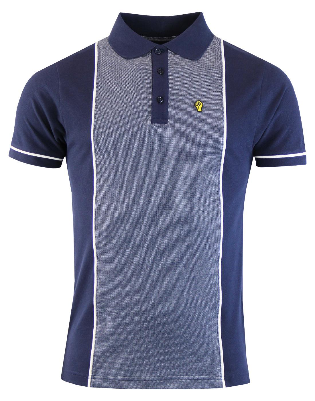 WIGAN CASINO Mod Oxford Panel Pique Polo Shirt (N)