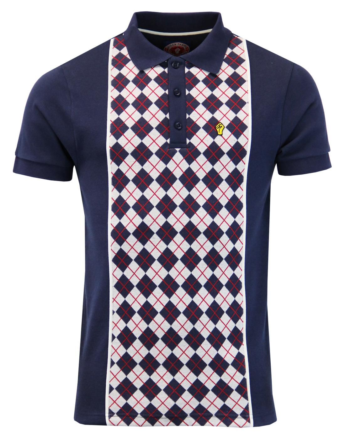 WIGAN CASINO Mod Argyle Panel Piped Polo Top (N)