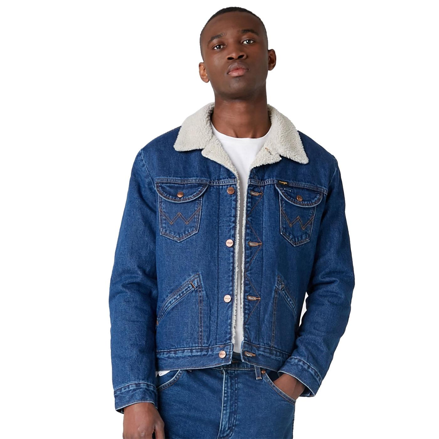 WRANGLER 124MJ Men's Retro Denim Sherpa Jacket