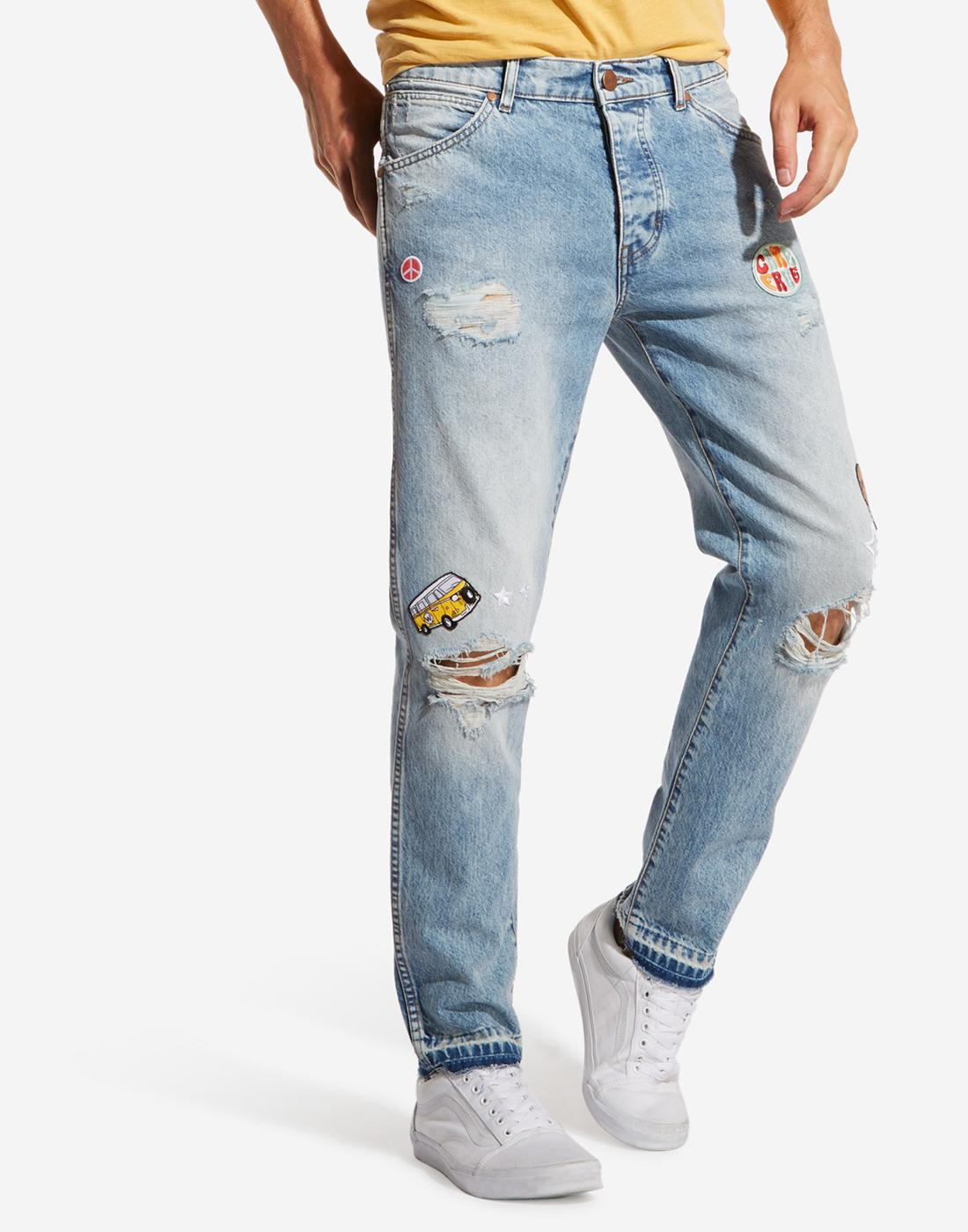 Boyton 70s WRANGLER Retro Patched & Ripped Jeans