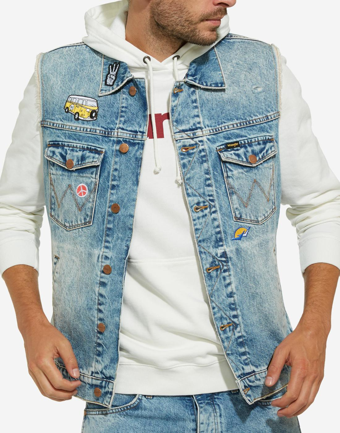 WRANGLER Mens Retro 70s Biker Patched Denim Gilet