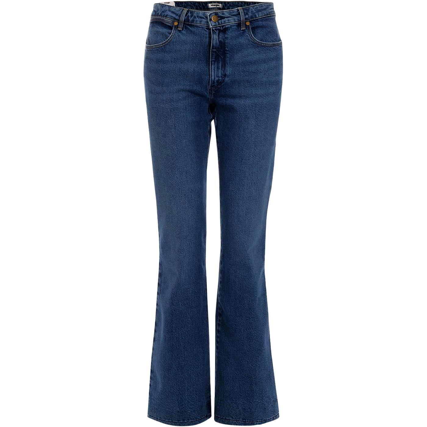 WRANGLER Flare Womens Retro Flared Jeans DARK BLUE