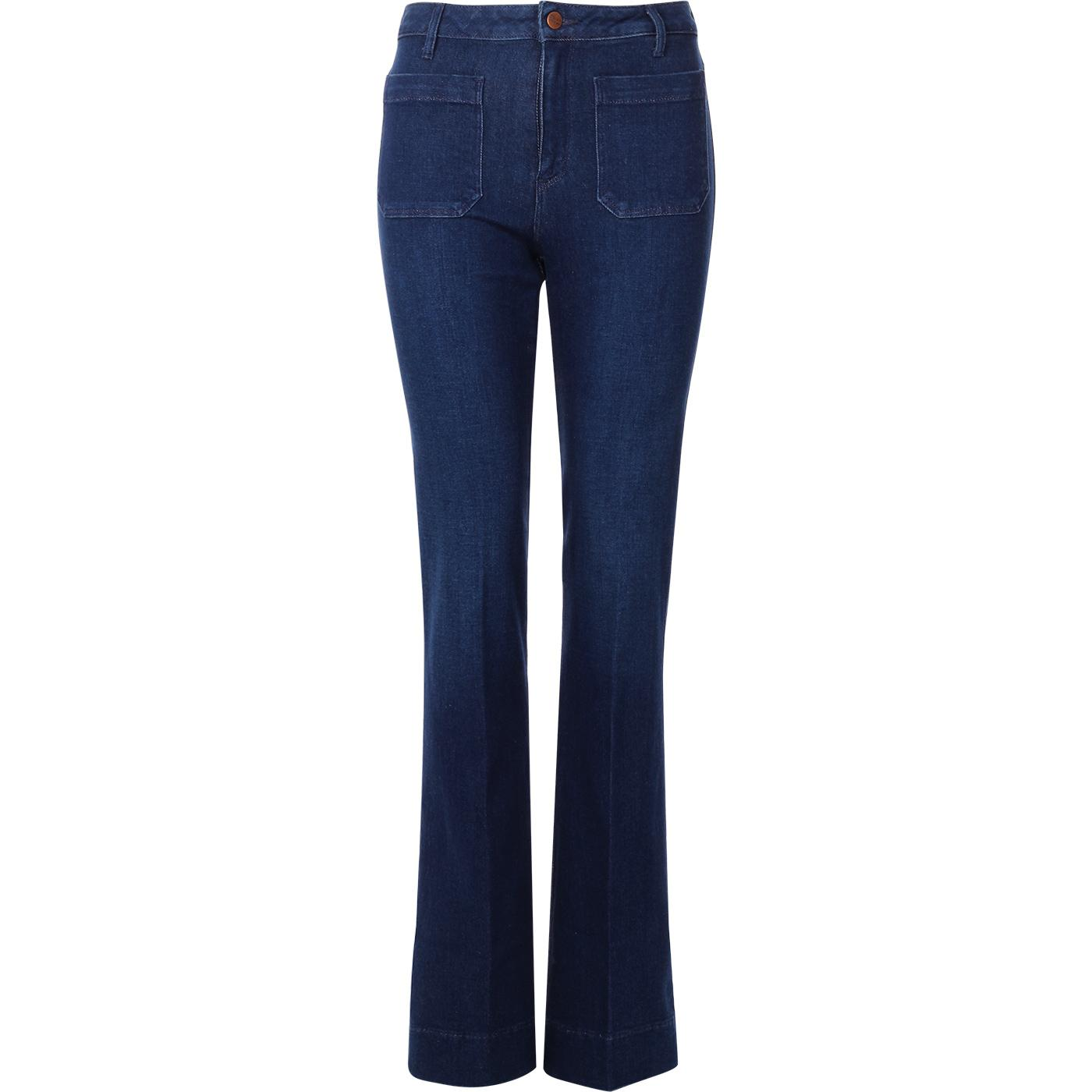 WRANGLER Flare Womens 70s Flared Jeans DEEP WATER