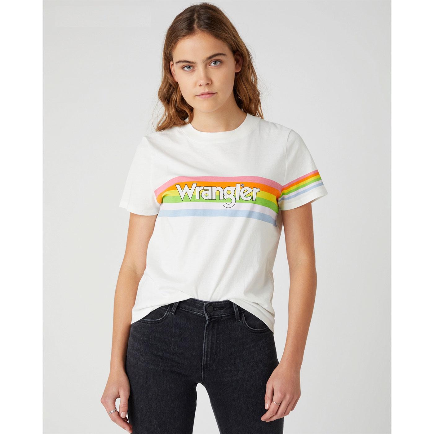 WRANGLER Womens Retro Rainbow Logo T-Shirt WW