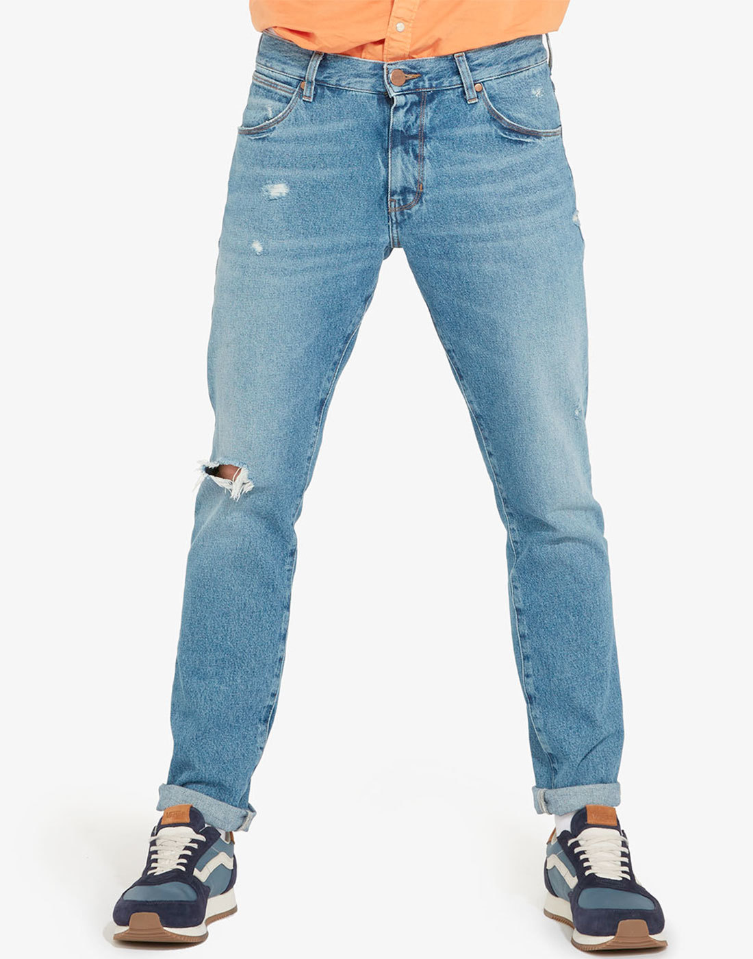 Larston WRANGLER Retro 80s Ripped Jeans in Pepper