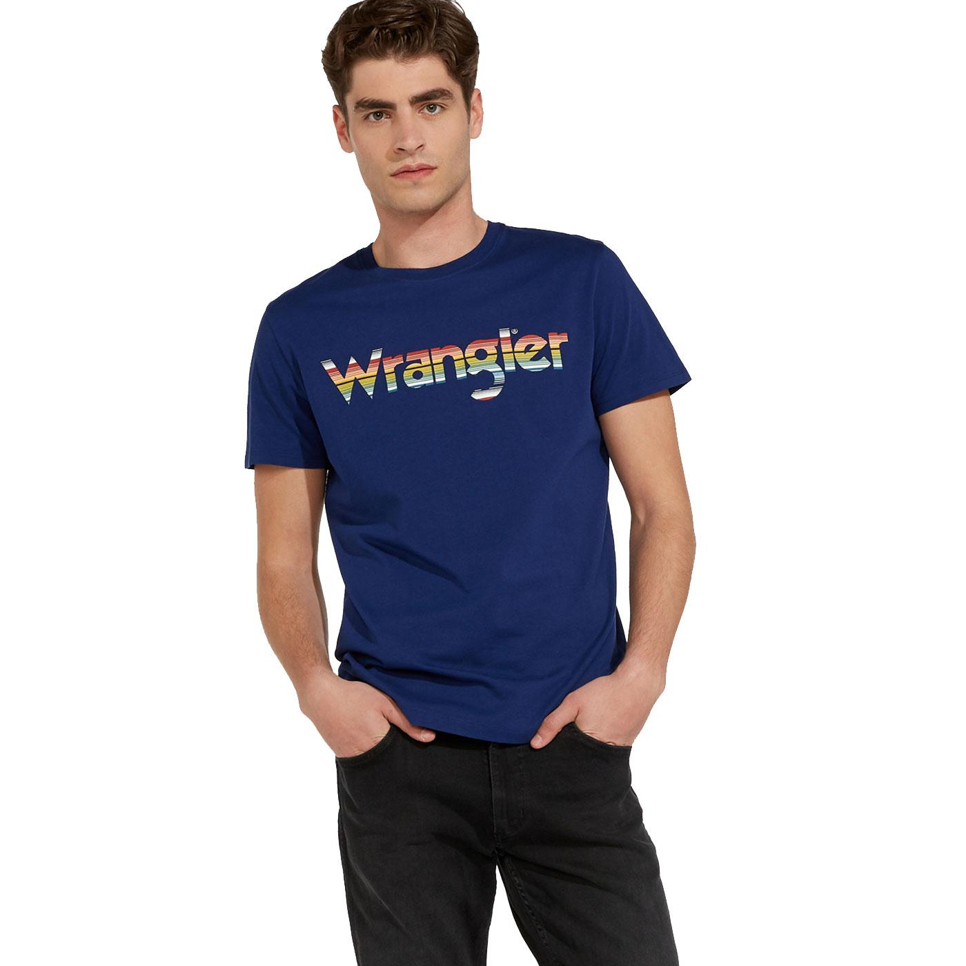WRANGLER Retro 80's Chest Logo Tee in Blue Depths