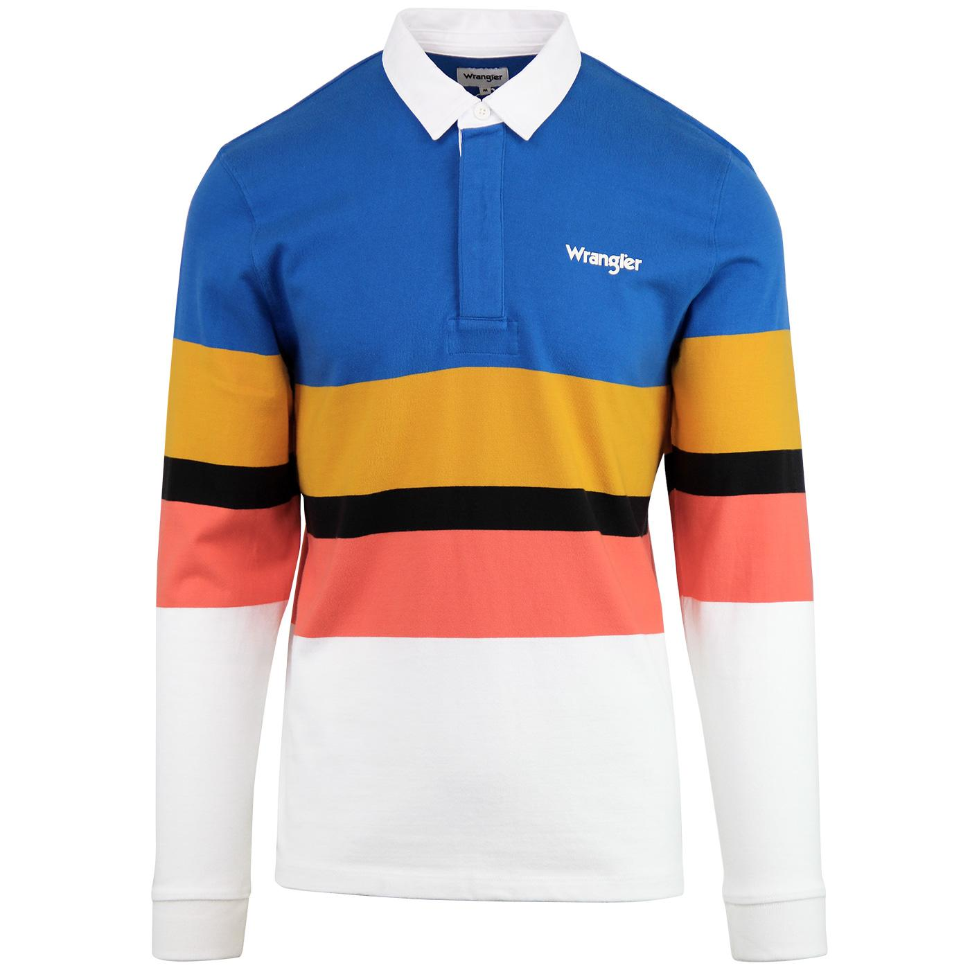 WRANGLER Men's Retro 70s Rugby Polo- Deep Water