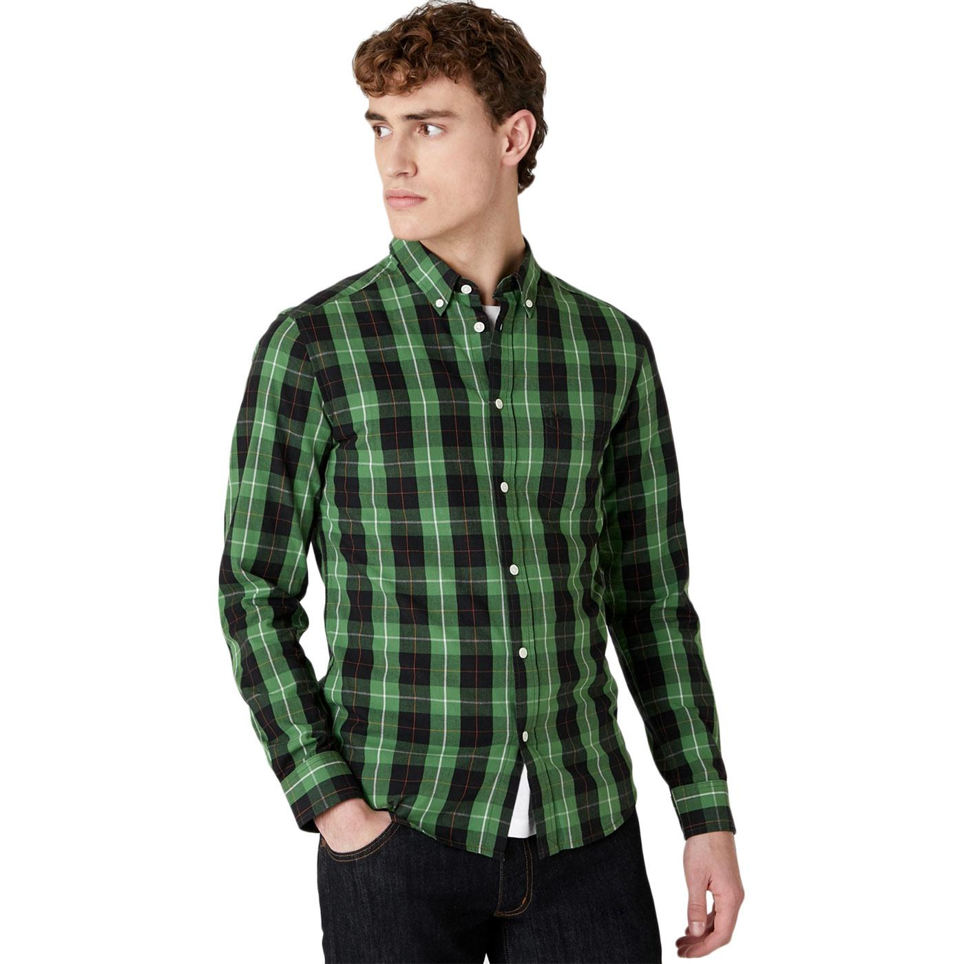 WRANGLER Retro Mod Button Down Check Shirt (Green)