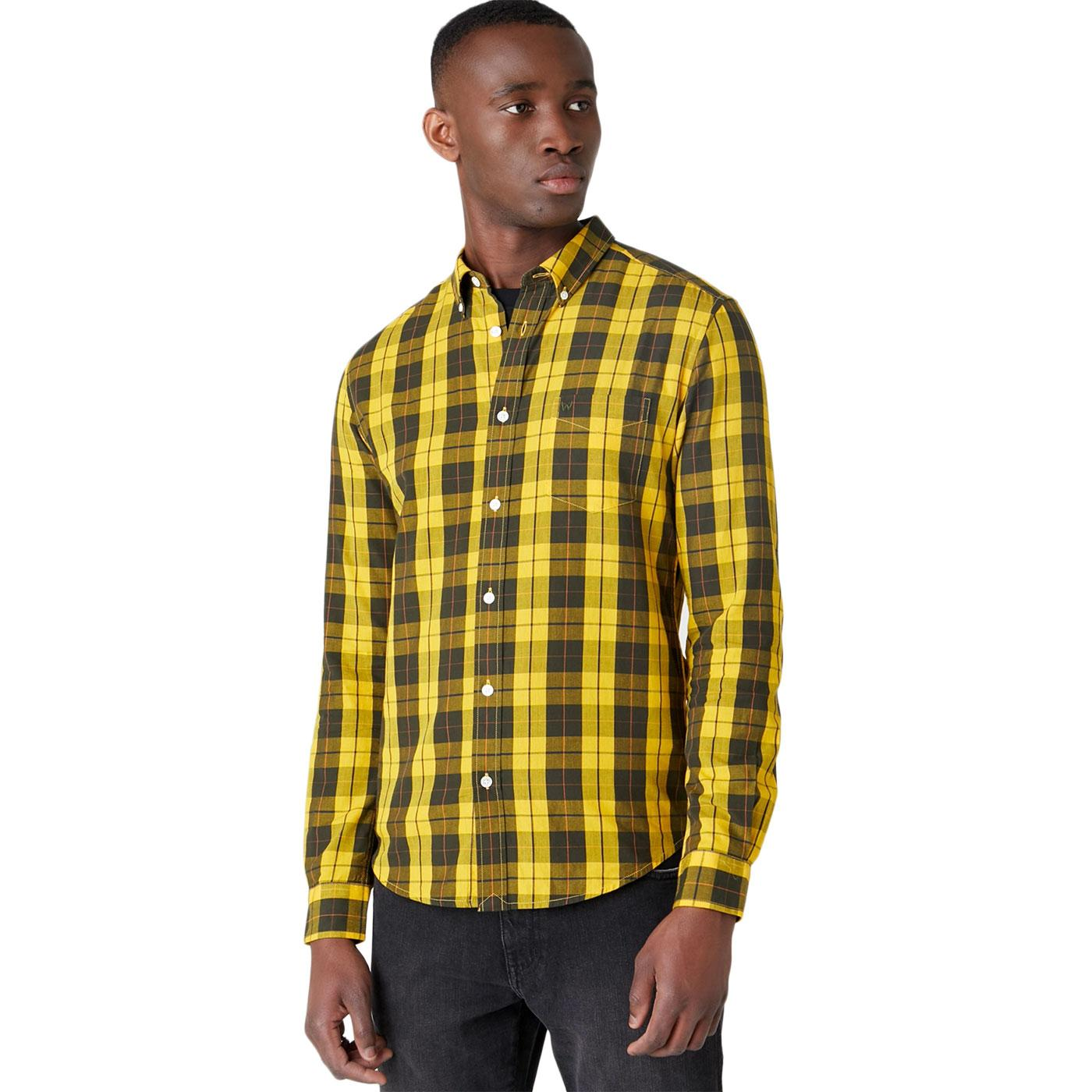 WRANGLER Retro Mod Button Down Check Shirt (Gold)