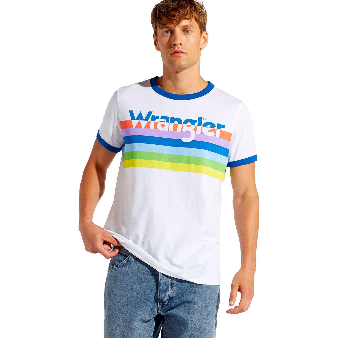WRANGLER Retro 70s Rainbow Stripe Logo Ringer Tee