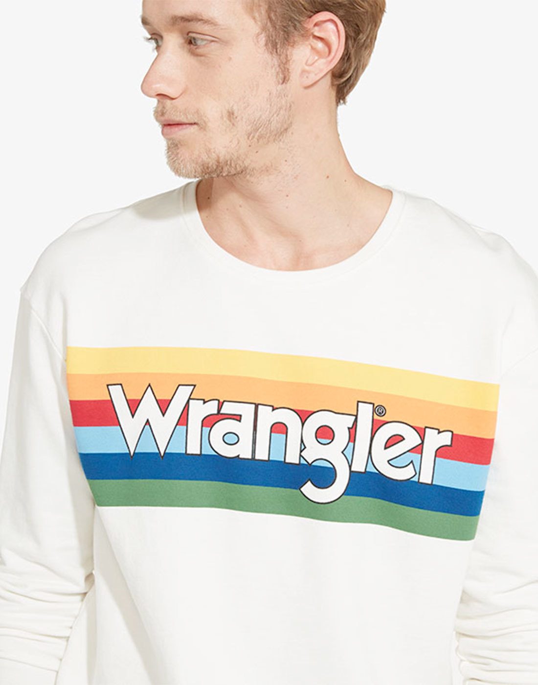 WRANGLER Men's Retro 70s Rainbow Logo Sweater
